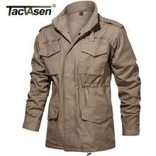 Tacvasen軍フィールドジャケットメンズミリタリー65綿フード付き戦術制服ウインドブレーカー狩猟服オーバーコート男性