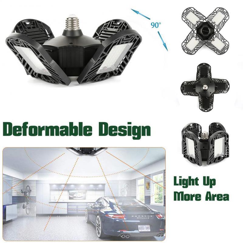 120W 192 LED Garage Light Deformable Ceiling Light Indoor For Garage Workshop UK Industrial Lamp Led Workshop Lamp Usa Warehouse