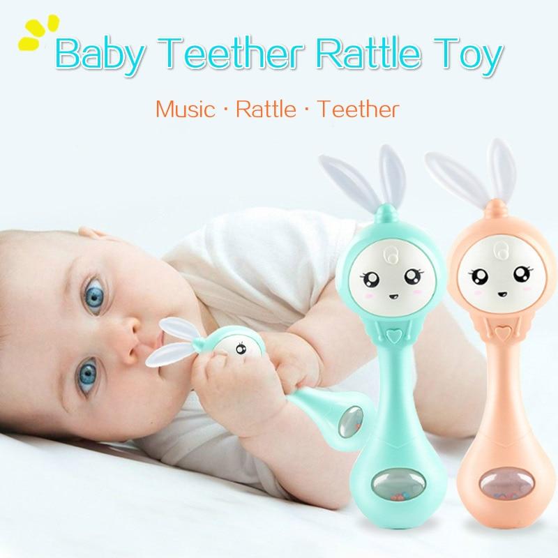 Детский музыкальный Прорезыватель для зубов, погремушки, игрушки, кролик, ручные колокольчики, мобильная соска для младенцев, плача и разрыв, Игрушки для раннего развития новорожденных 0-12 месяцев 1