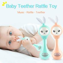 Dziecko migający z muzyką gryzak grzechotki królik dzwonki ręczne mobilny smoczek dla niemowląt płacz łza noworodka wczesne zabawki edukacyjne 0-12M tanie tanio OLOEY W wieku 0-6m 7-12m 13-24m 25-36m Z tworzywa sztucznego CN (pochodzenie) Unisex Music Teether Rattle Zwierząt rozdzielone