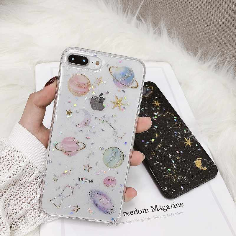 For Iphone 7 8 Plus 6s Glitter Planet Starry Sky Pattern Phone Case For IPhone X XS 7 8 Plus 6 6S Soft Silicone Cover Case