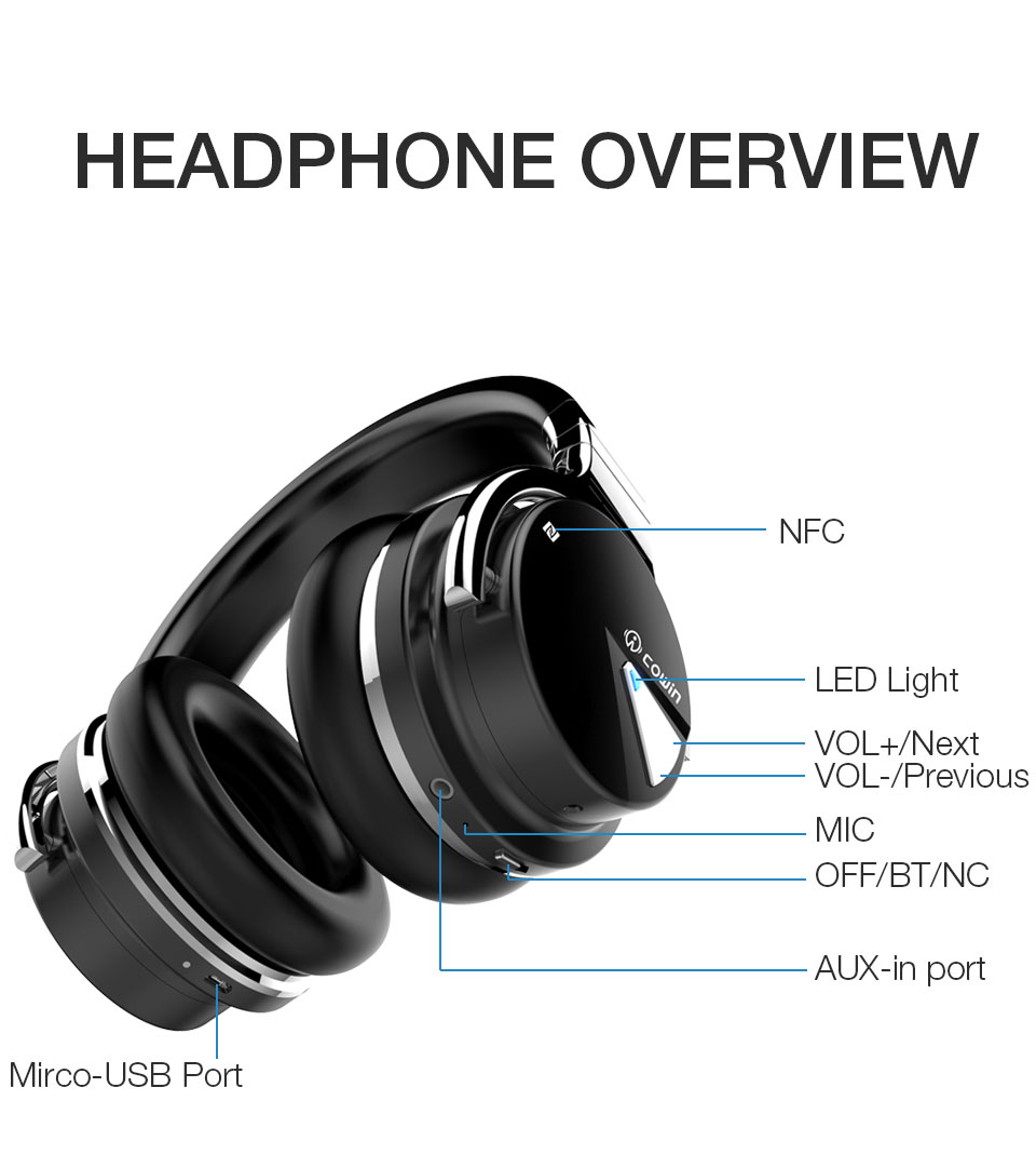 Original Cowin E7[Upgraded] ANC bluetooth Headphone wireless bluetooth headset Earphone Active Noise Cancelling headphones