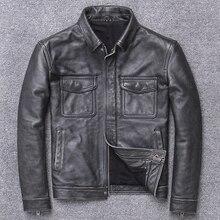 Plus Size Classic Jacket Casual Genuine Vintage Mens Slim Leather Coat Business