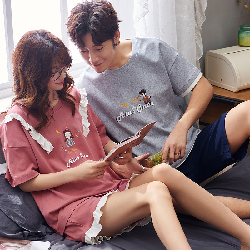 2020 Couples Pajamas Summer Pure Cotton Short Sleeve Korean-style Cute WOMEN'S Suit Summer Thin Men Homewear Set