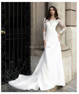 Image 3 - Romantic Satin & Lace Applique Long Sleeves Wedding Dresses Sheer Scoop Ivory Buttons Back Bride Wedding Gowns 2020 Vestidos