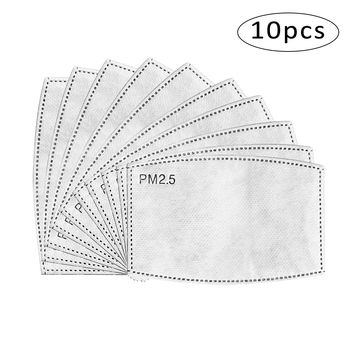 10Pcs/Set PM2.5 Haze Mouth Mask Replaceable Filter-slice 5 Layers Non-woven Activated Carbon Filter face Masks Gasket Paper