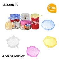 ZhangJi силиконовые эластичные крышки(набор из 6) Многоразовые крышки контейнера для пищевых продуктов уплотнение для чаш кружки горшки Микроволновая печь морозильная камера банки бесплатно