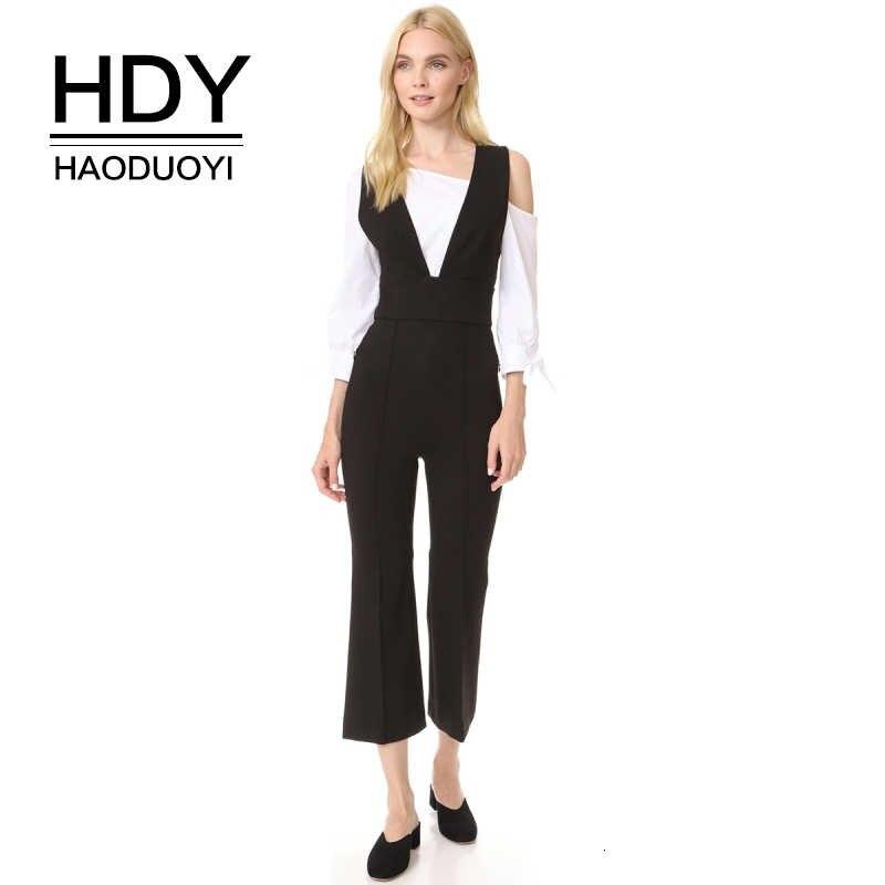 HDY Haoduoyi mujer Deep V Neck Strappy Cross Back Jumpsuit mameluco sin mangas pantalones negros Club de fiesta pantalones cortos