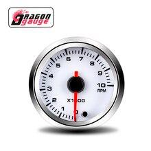 「 DRAGON 」 52MM obrotomierz miernik RMP wysokiej klasy Instrument 7 kolorów zmienia 0 ~ 10 × 1000 obr./min modyfikacja samochodu części nadające się do samochodu 12 v
