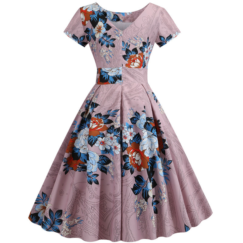 Summer Floral Print Elegant A-line Party Dress Women Slim White Short Sleeve Swing Pin up Vintage Dresses Plus Size Robe Femme 235