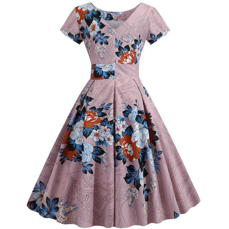 Summer Floral Print Elegant A-line Party Dress Women Slim White Short Sleeve Swing Pin up Vintage Dresses Plus Size Robe Femme 91