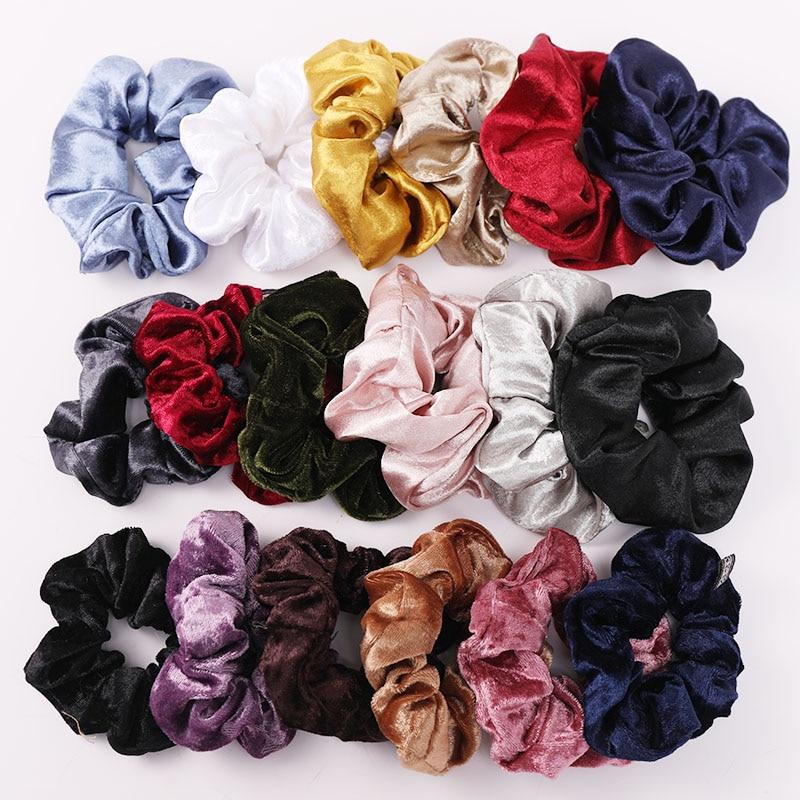 Women Girls Solid Coral Fleece Silk Elastic Hair Bands Scrunchie Ponytail Holder Rubber Bands Tie Gum Fashion Hair Accessories