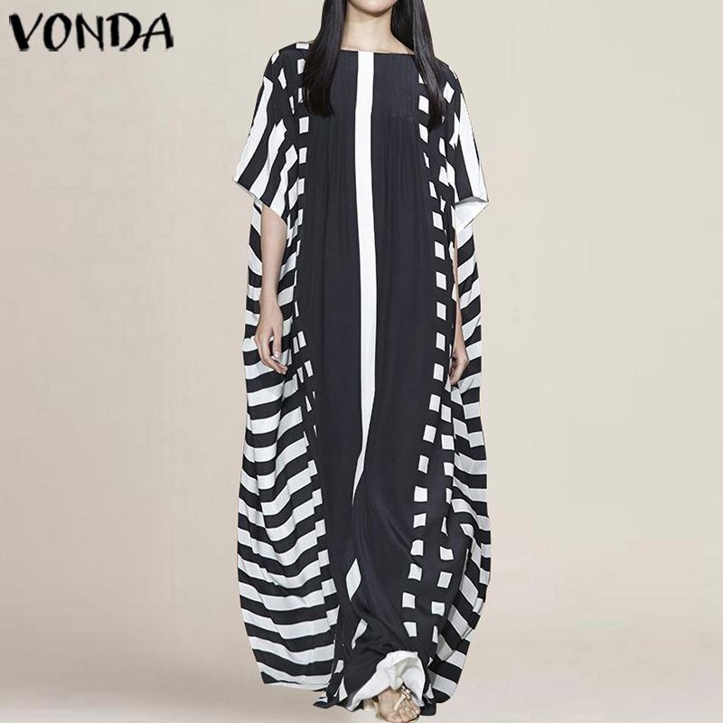 Vintage Maternity Dress 2019 Summer VONDA Sexy O Neck Half Sleeve Long Dresses Casual Beach Party Sundress Pregnancy Vestidos