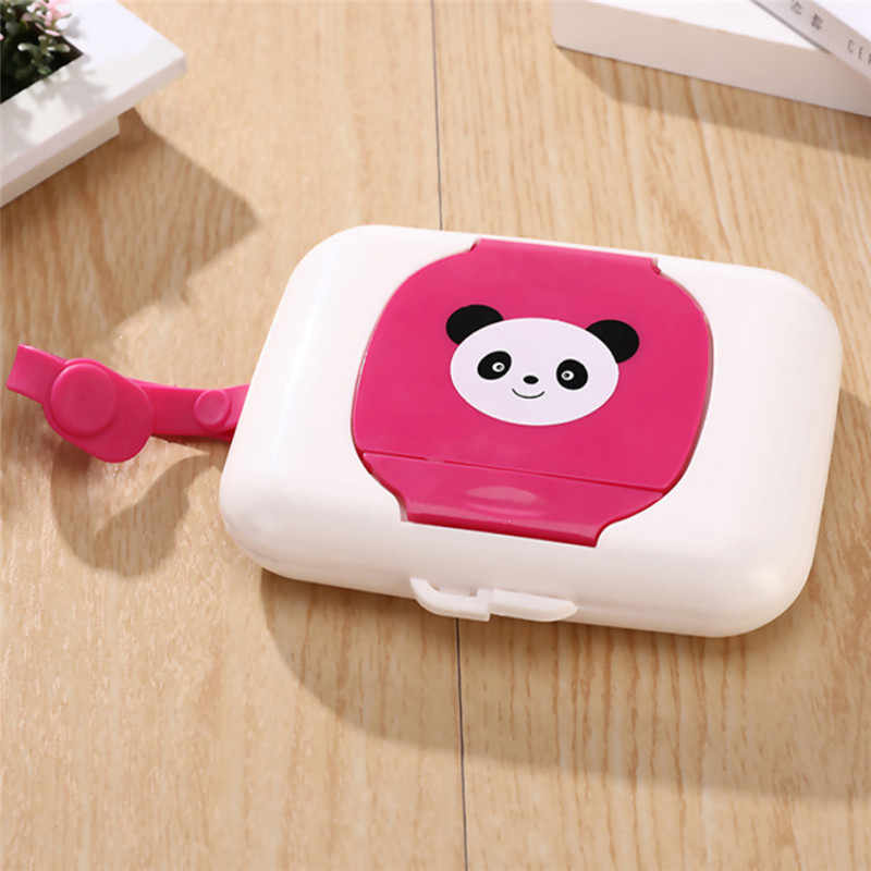 Wet Tissue Paper Box Care Baby Wipes Case Napkin Storage Box Cartoon Panda Print Holder Lovely Napkin Container 4 Colors