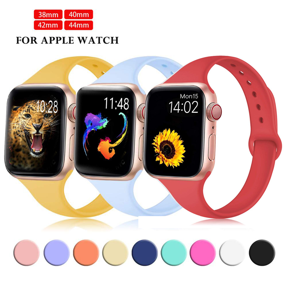 Soft Silicone Strap For Apple Watch Series 5 4 3 2 Band 38mm 42mm Replacement Sport Band Wrist Bracelet Strap For IWatch 4 3 2 1