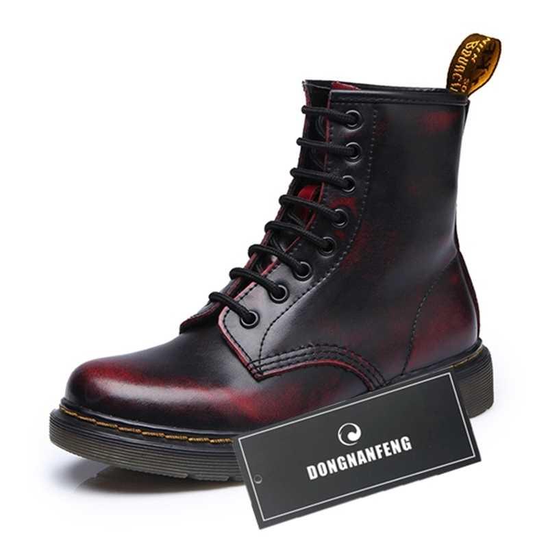 DONGNANFENG נשים גבירותיי Famale אמיתי עור נעלי קרסול מגפי קטיפה תחרה עד רכיבה Equestr Botas Mujer בתוספת גודל YDL-666-2