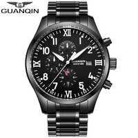 GUANQIN Luxury Automatic clock Mechanical Men's Watches Calendar pilot watch Top Brand Waterproof Wristwatch Relogio Masculino