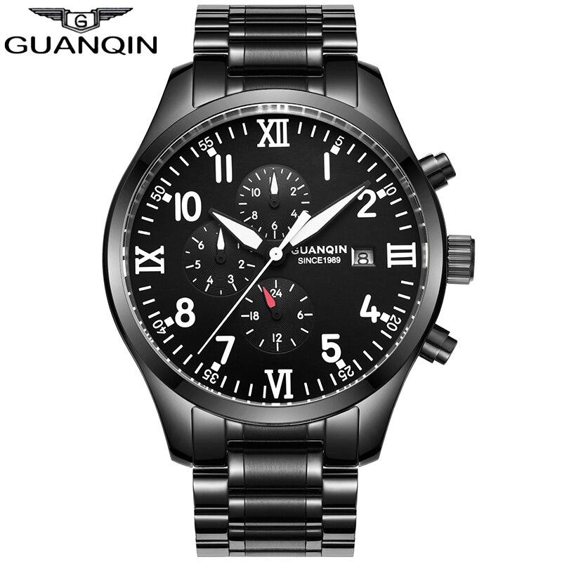 Reloj Automático de lujo GUANQIN relojes mecánicos para hombre calendario fecha marca superior reloj de pulsera de cuero resistente al agua reloj Masculino