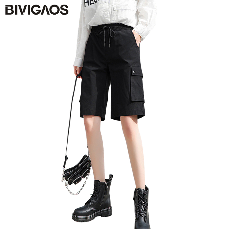 BIVIGAOS Cargo Shorts Women 2020 Summer New Loose Straight Large Pockets Short High Waist Thin Sport Shorts Casual Knee Shorts