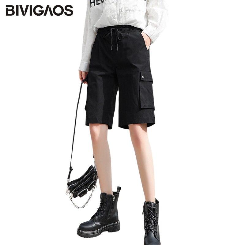 BIVIGAOS Cargo Shorts Women 2020 Summer New Loose Straight Large Pockets Short High Waist Thin Sport Shorts Casual Knee Shorts