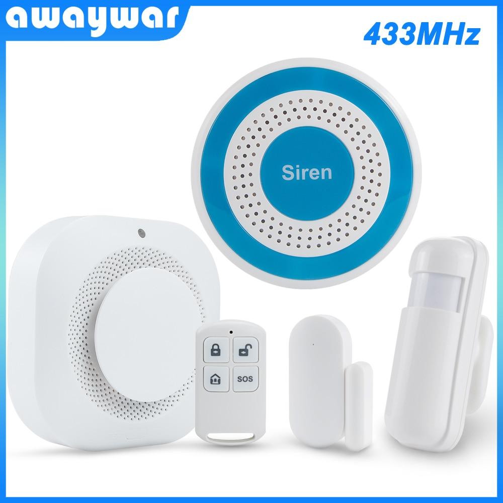 Awaywar 433MHz Wireless Security Burglar Alarm System Strobe Siren Kit PIR Motion/Door Sensor Fire Smoke Detector For Smart Home