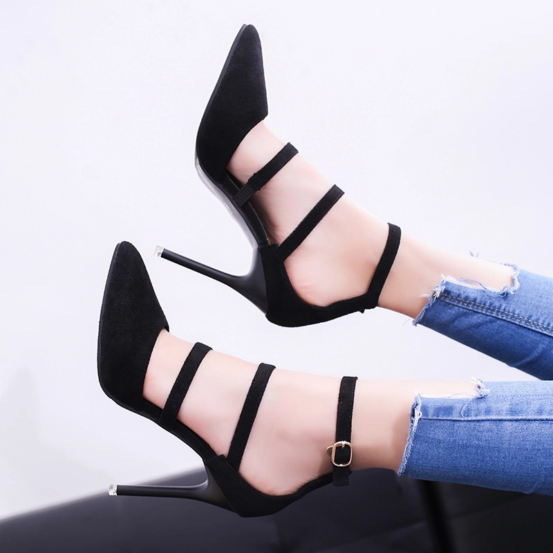 2019 New Pointed High-heeled Shoes With Shallow Mouth Word Buckle With Women's Shoes Suede Large Size Single Shoes