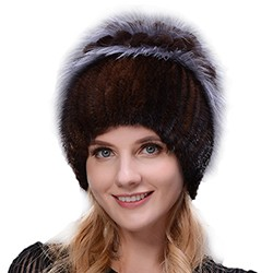 Middle aged women in the winter: mink fur women's knitted sweater hat new fashion European and American cat style ski caps 7