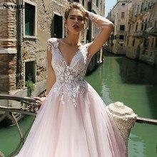 Sevintage Pink Deep V-Neck Wedding Dresses Boho Cap Sleeves Bridal Gowns Custom Made Sweep Train Bride Dress 2020 robe femme