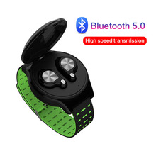 TWS Wireless Bluetooth Headset Touch wrist strap Hifi stereo Wireless Headphones 5.0 Bluetooth Earphone For iPhone Android Phone jqaiq sweatproof wireless earphone bluetooth sport metal magnetic stereo bluetooth headset wireless earphone for iphone android