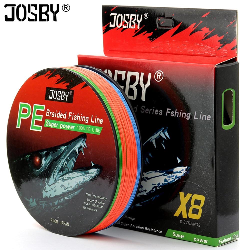 Josby pesca 8 fios tudo para voar cabo monofilamento carpa trançado pesca linha japão pe acessórios 100 m 200 300 m 500 m