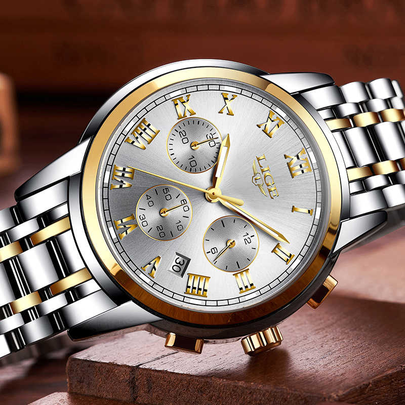 LIGE hommes montres Top marque de luxe en acier complet étanche Sport montre à Quartz hommes mode Date horloge chronographe Relogio Masculino