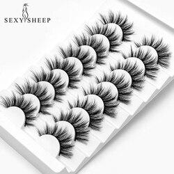 SEXYSHEEP 5/8/10pairs 3D Mink Lashes Natural False Eyelashes Dramatic Volume Fake Lashes Makeup Eyelash Extension Silk Eyelashes