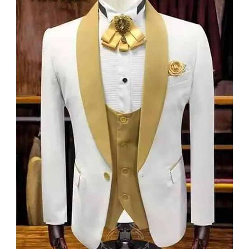 White and Gold Wedding Tuxedo for Groomsmen with Shawl Lapel 3 Piece Custom Men Suits Man Fashion Set Jacket Vest with Pants