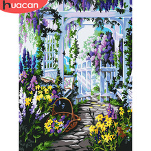 HUACAN Paint By Numbers Flowers HandPainted Kits Drawing Canvas DIY Oil Pictures Garden Home Decor Gift