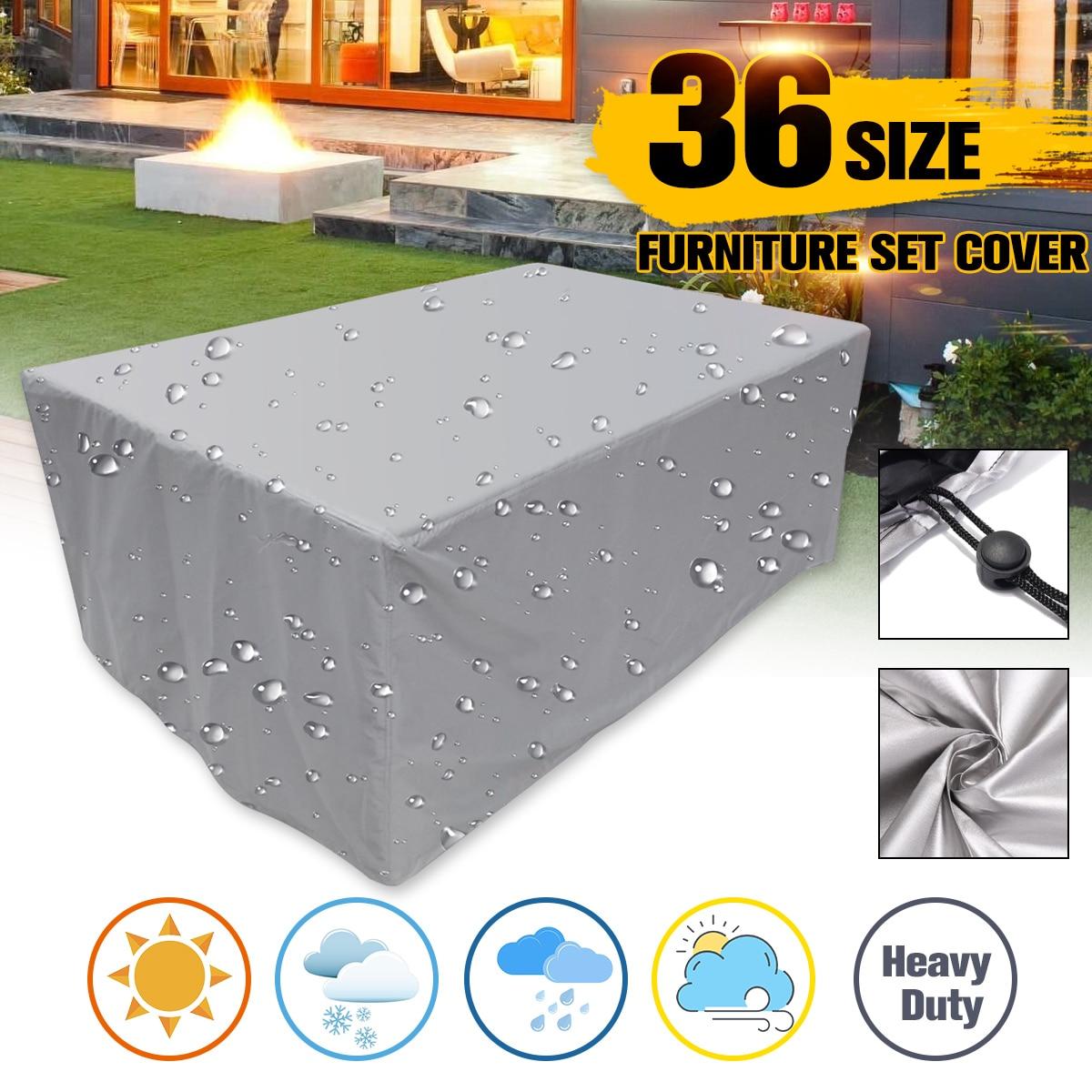 Cubierta de tela Oxford a prueba de polvo para silla de mesa de ratán sofá impermeable lluvia jardín patio al aire libre funda protectora