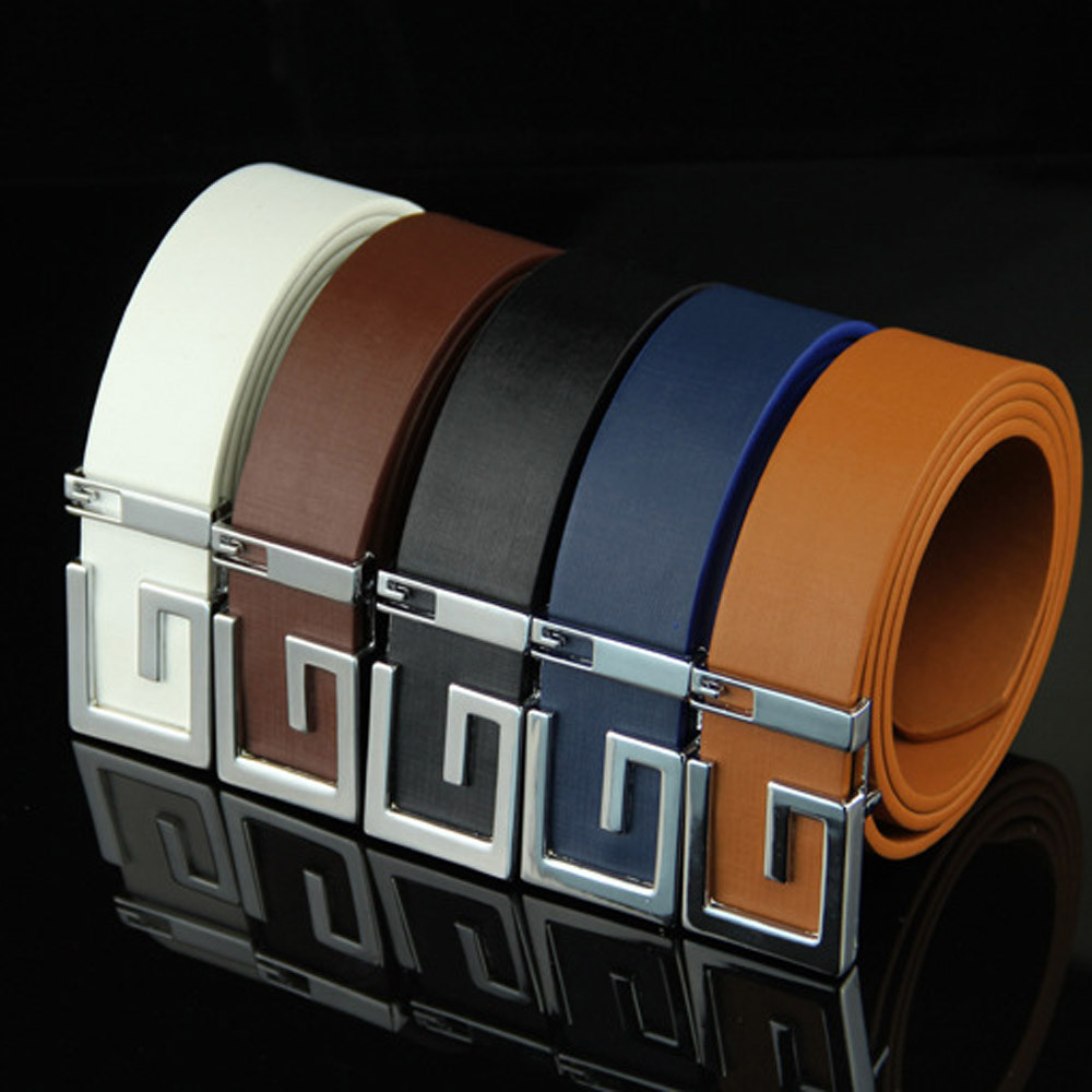 Casual Smooth Buckle Belt Letter G Fashion Mens Leather Smooth Girdle Buckle Waistband Waistband Leisure Belt Strap 2020