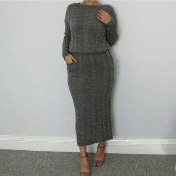 Winter Sweater Abaya Dubai Turkey Muslim Sets Hijab Dress Caftan Kaftan Islam Clothing Abayas For