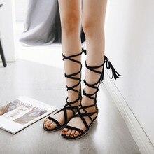 MUQGEW сандалии-гладиаторы; женские пикантные мягкие высокие шлепанцы в стиле ретро; нескользящие сандалии на плоской подошве с перекрестной шнуровкой в римском стиле