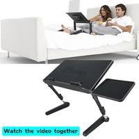 Computer Desk Adjustable Folding Lifting Bed Computer Desk For Notebook Tablet With Cooling Fan Foldable Computer Holder #4W