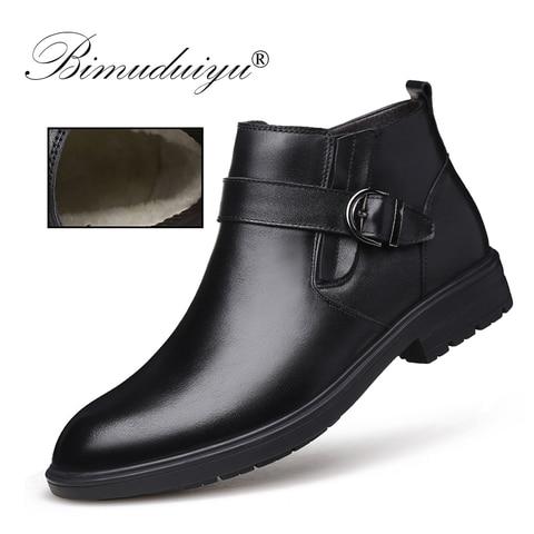 BIMUDUIYU Men Autumn Genuine Leather Boots With Fur Winter Men Fashion Ankle Boots Business Casual Man Snow Boots Work Shoes Karachi