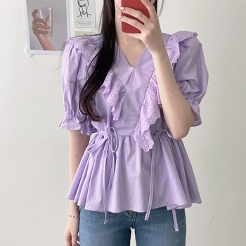 COIGARSAM Short Sleeve blouse women Patchwork High Waist V-Neck blusas womens tops and blouses White Purple 3126