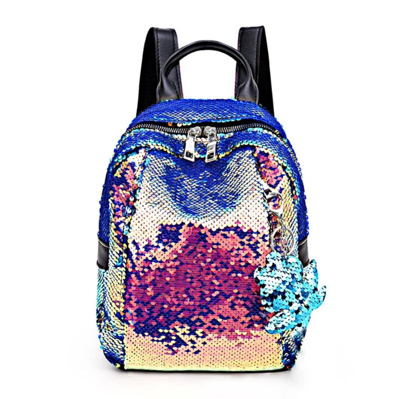 Glitter Sequins Backpack Teenage Girls Fashion Bling Rucksack Students School Bag Sequins Travel Backpack Zipper