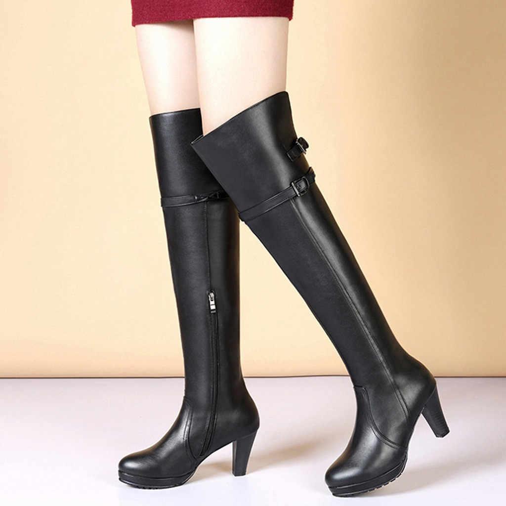 ผู้หญิงต้นขาสูงรองเท้าหนังรองเท้าเข่ารองเท้าส้นสูงสีดำยาวหลอดอัศวิน Boot สุภาพสตรีรอบ Toe Platform รองเท้า