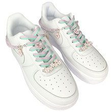 Sakura Collection Sneaker Decorations Oriental Cherry Blossom Shoe Charms Chains Shoelaces Buckles Pink Crystal Shoe Accessories