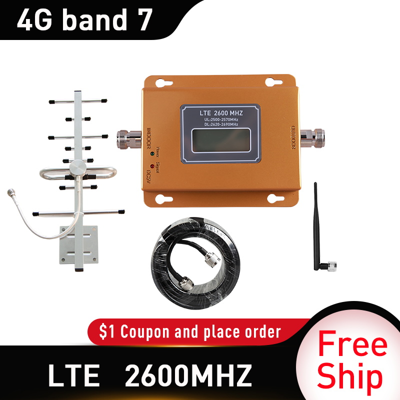 Gain 65dB LTE DCS 4G 2600mhz Moblie Phone Booster 2600MHZ Signal Repeater 4G DATA Cellular Amplifier 5dbi Whip Indoor Antenna