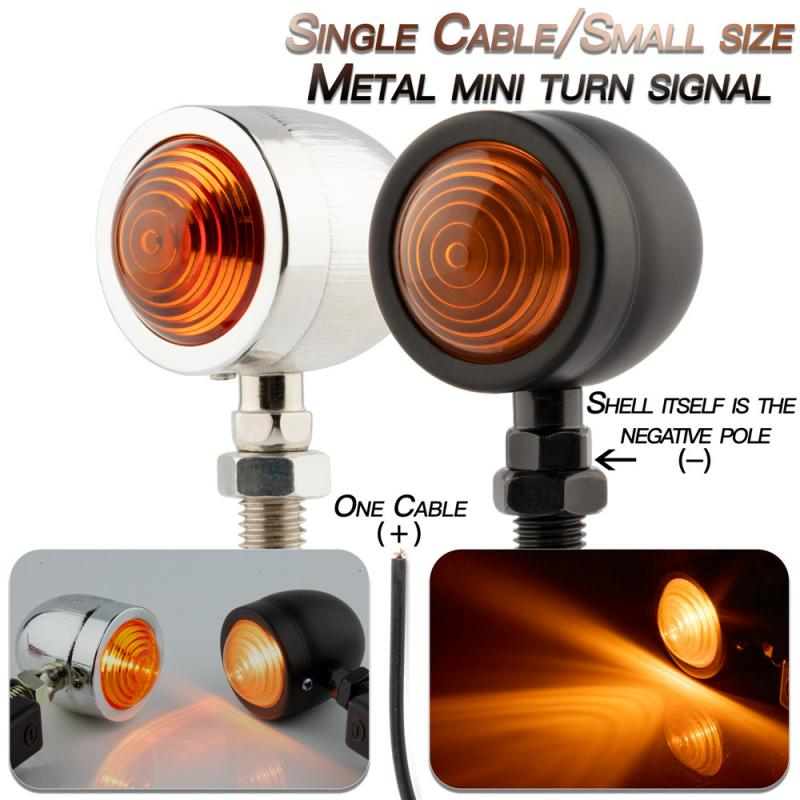 Bullet Motorcycle Turn Signal Indicator Lamp Light Moto Blinker Light For Harley Honda Fatboy Chopper Bobber Suzuki Black /Silve