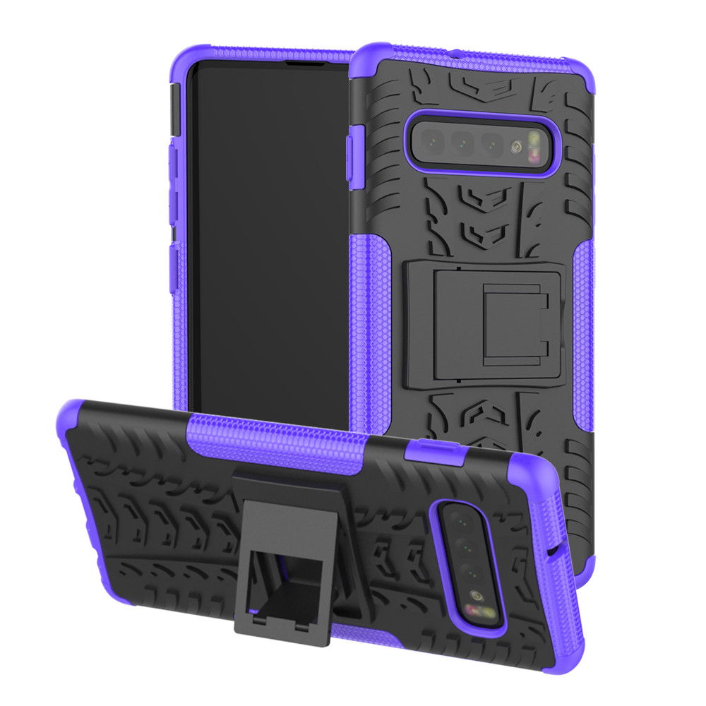 For Samsung Galaxy S10 6.1Inch Hybrid Rugged Hard Rubber PC Stand Case Cove Protective Back Phone Shell Shockproof Phone Case