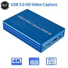 4K HDMI к USB 3,0 карточная коробка для видеозахвата ключ 1080P loop HD видео запись захват 3,5 мм aux микрофон для OBS игровой потоковой передачи в реальном ...