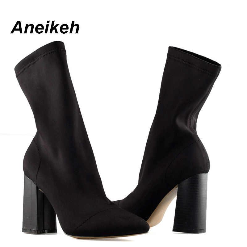 Aneikeh ince streç yarım çizmeler kadınlar için sivri burun çorap kare yüksek topuk çizmeler ayakkabı kadın moda Bota Feminina 41