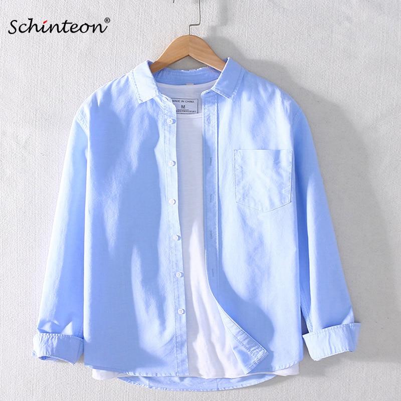 2020 Schinteon Men 100% Cotton Shirt Long Sleeved Japanese Style Casual Oxford Shirt Turn-down Collar S-4XL